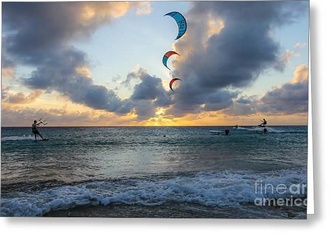 Kite Surfing Greeting Card by Jennifer Ansier