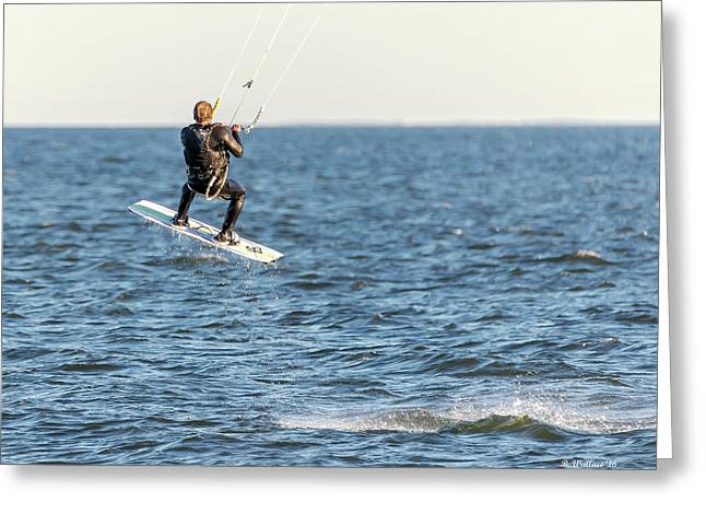 Kite Surfing Jump Greeting Card by Brian Wallace