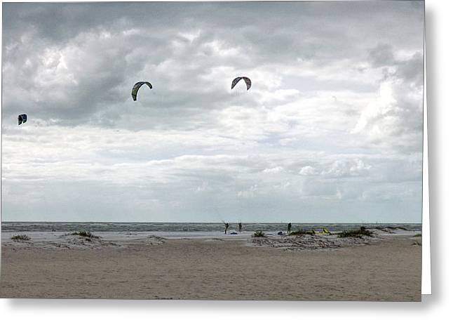 Kite Surfing Lido Beach Florida Greeting Card by Lynn Bolt