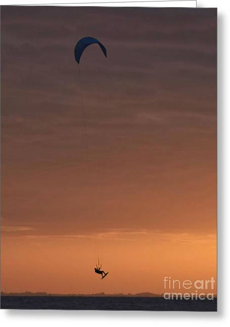 Kite Surfing Sunrise Silhouette Vertical Greeting Card by Anna Gibson