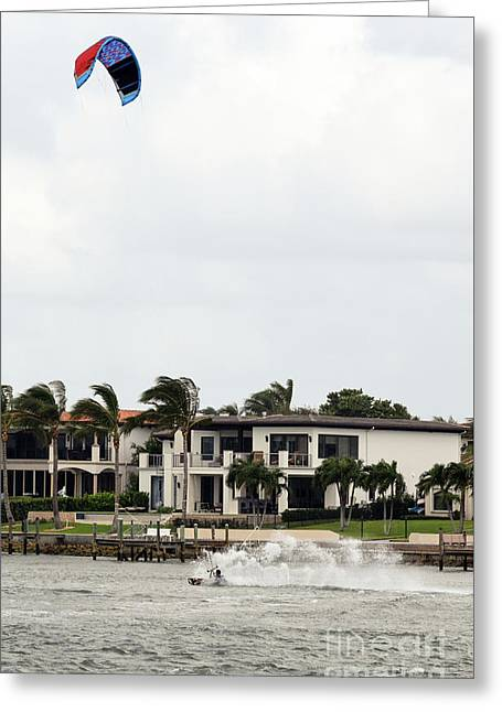 Kite Surfing The Jupiter Inlet Greeting Card by William Tasker