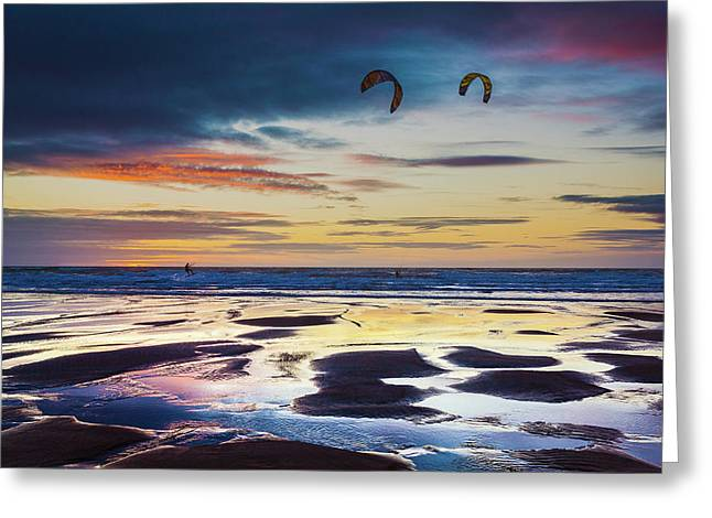 Kite Surfing, Widemouth Bay, Cornwall Greeting Card by Maggie McCall