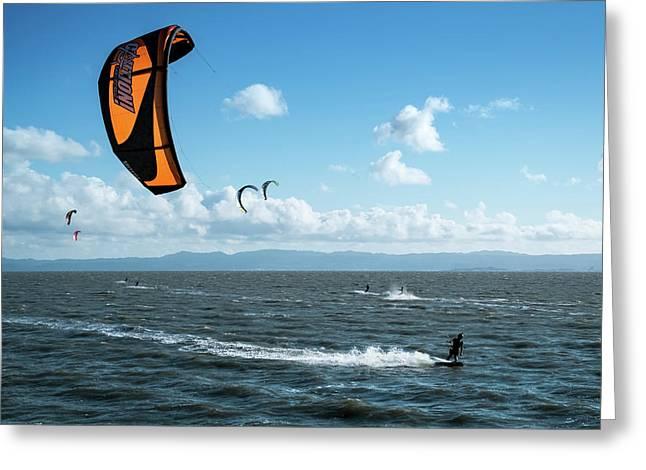 Kiteboarding East Bay San Francisco Area California Greeting Card by Mary Lee Dereske