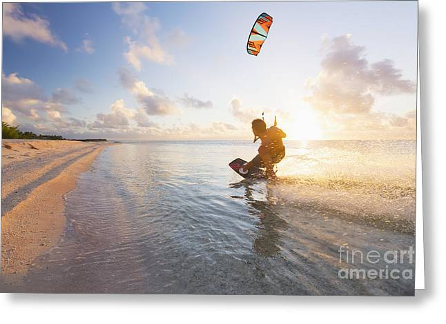 Kiteboarding In Tropical Lagoon Greeting Card by MakenaStockMedia
