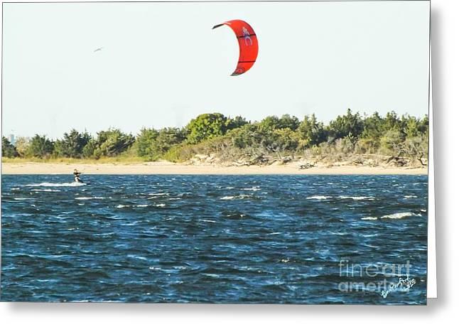 Kiteboarding On Sandy Hook Bay, Nj Greeting Card by Barbara Pond