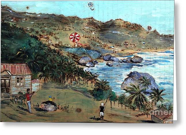 Kites At Bathsheba Greeting Card by Richard Jules