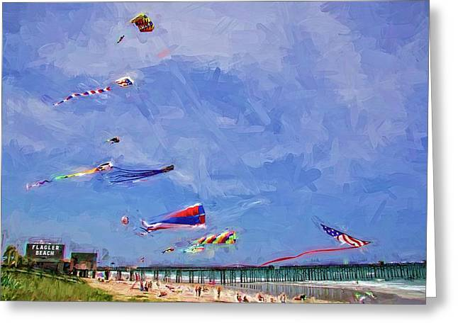 Kites At The Flagler Beach Pier Greeting Card