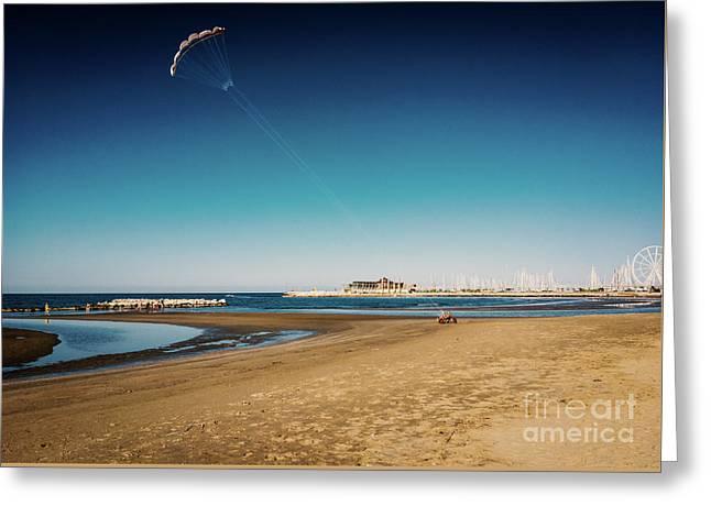 Kitesurf On The Beach Greeting Card