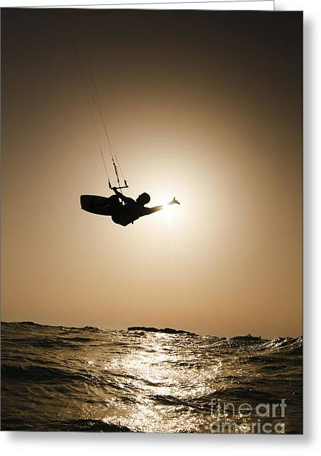 Sea Sports Greeting Cards - Kitesurfing at sunset Greeting Card by Hagai Nativ