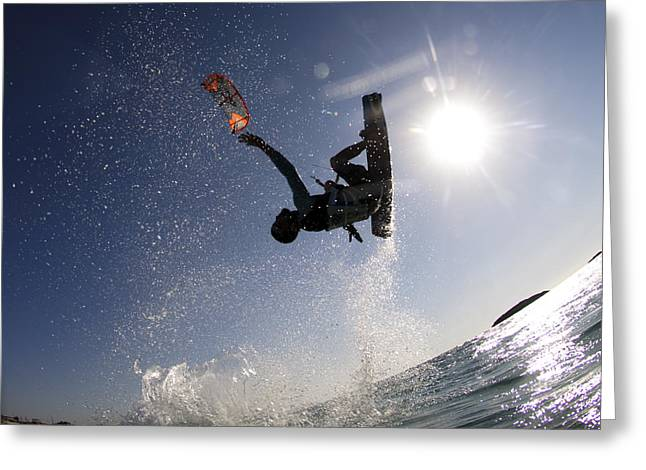 Kitesurfing In The Mediterranean Sea  Greeting Card by Hagai Nativ