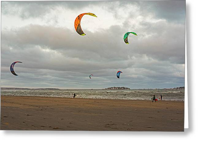 Kitesurfing On Revere Beach Greeting Card