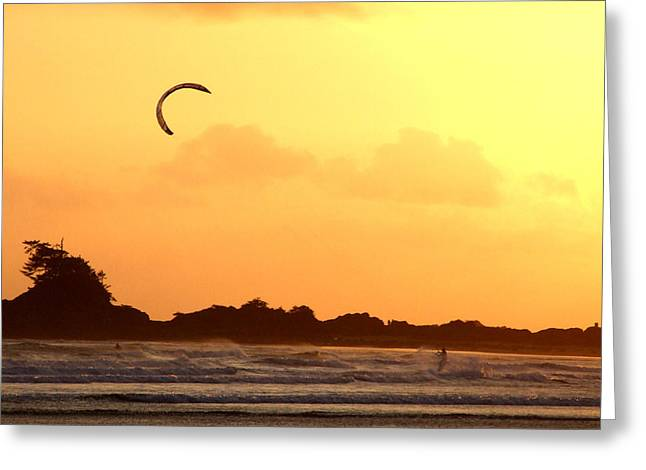 Kitesurfing The Sunset Greeting Card by Mark Alan Perry