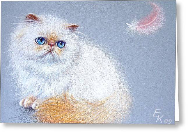 Kitten And Feather 2 Greeting Card by Elena Kolotusha