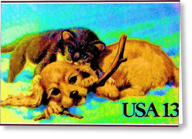 Kitten And Puppy Greeting Card by Lanjee Chee