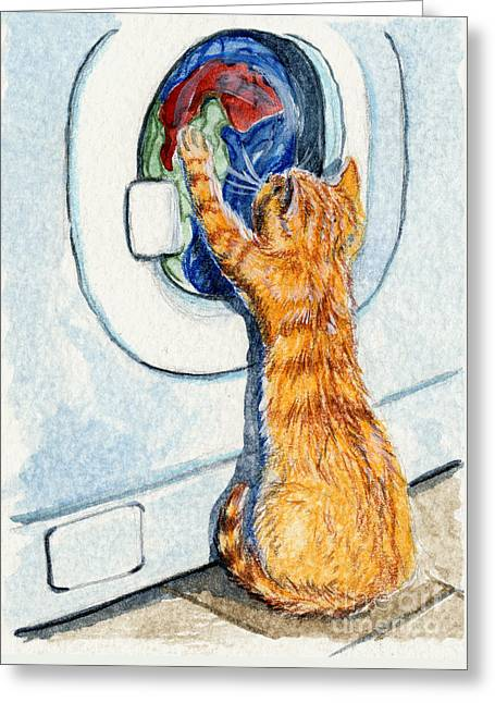 Kitten And Washing Machine 204 Greeting Card by Svetlana Ledneva-Schukina