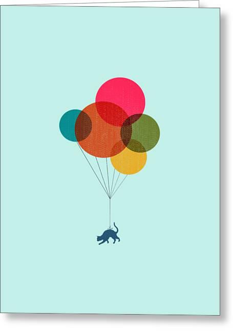 Kitten Baloon Trip Greeting Card