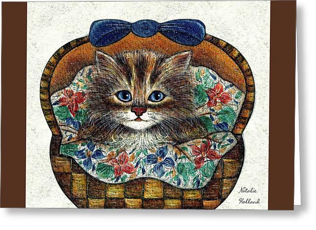 Kitten In Basket Greeting Card