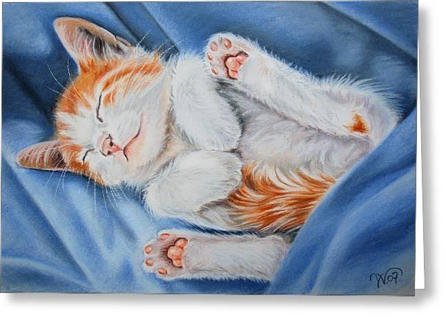 Kitten Pastel Kitten Greeting Cards - Kitten Sleeping Greeting Card by Valentina Vassilieva