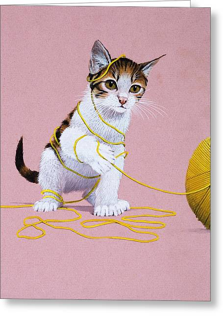 Kitten With Ball Of Wool Greeting Card by English School