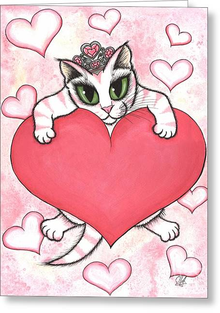 Kitten With Heart Greeting Card by Carrie Hawks