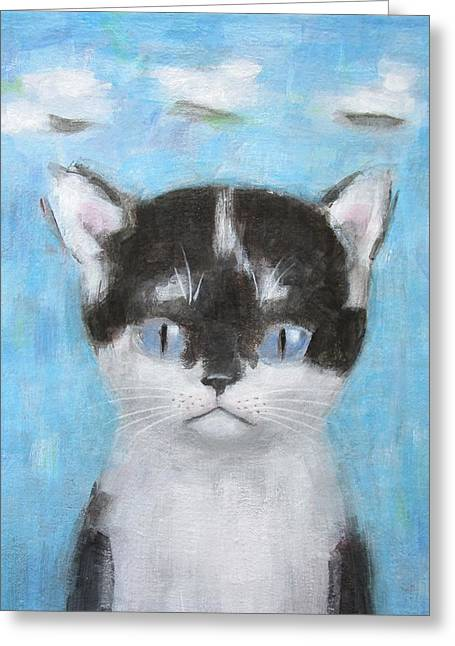 Kitten With Three Clouds Greeting Card