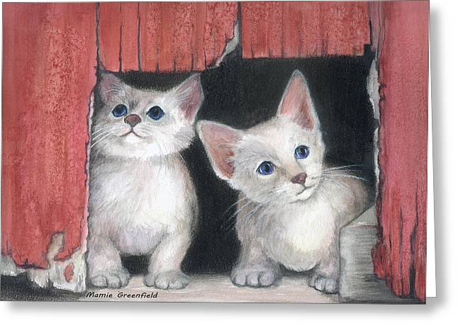 Kittens And Red Barn Greeting Card