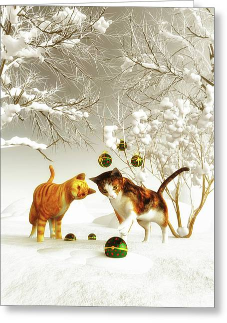 Greeting Card featuring the painting Kittens At Christmas by Jan Keteleer