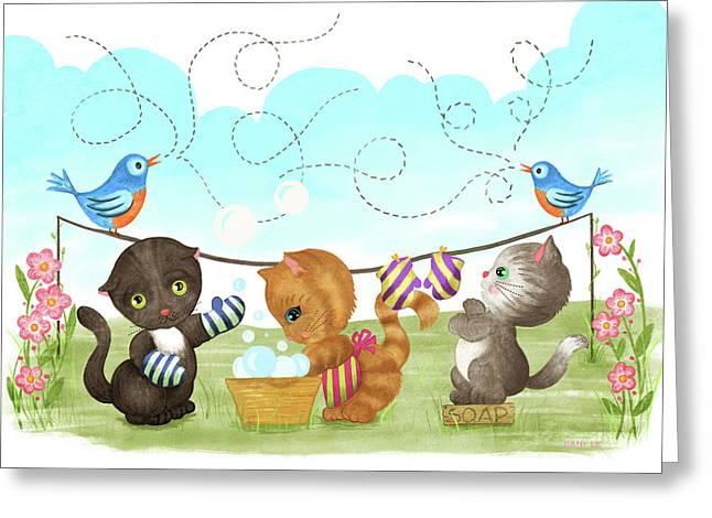 Kittens Washing Mittens Greeting Card