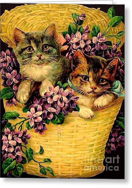 Kittens With Violets Victorian Print Greeting Card