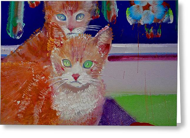 Kittens With Wild Wallpaper Greeting Card by Charles Stuart