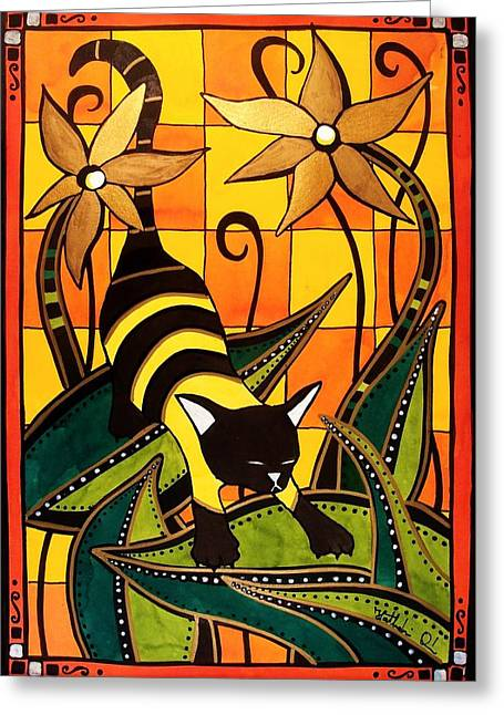 Kitty Bee - Cat Art By Dora Hathazi Mendes Greeting Card by Dora Hathazi Mendes