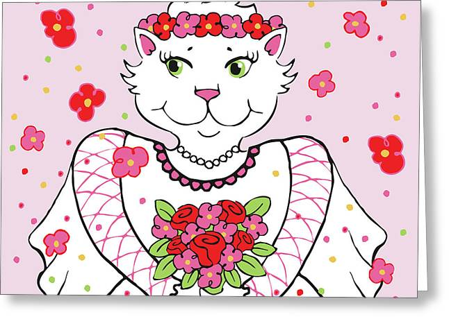 Kitty Bride Greeting Card
