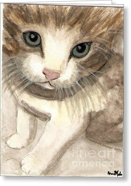 Kitty Cat Greeting Card by AnnaMarie Armstrong