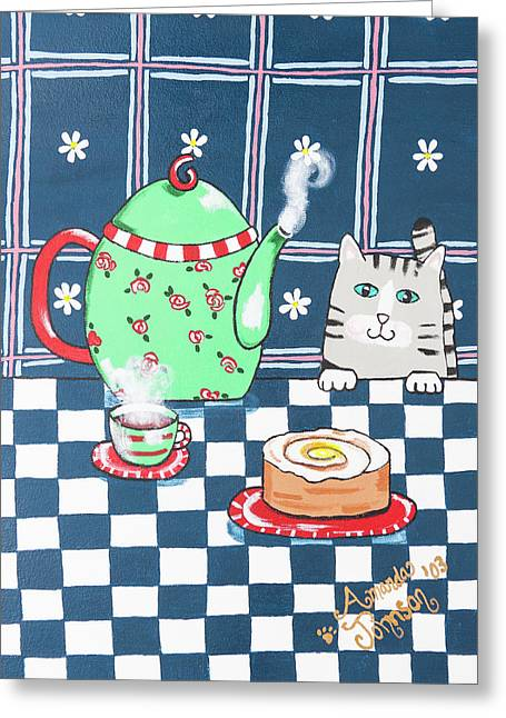 Kitty Cat Tea Time Greeting Card