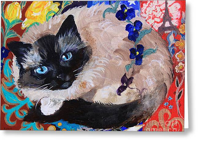 Kitty Goes To Paris Greeting Card by Robin Maria Pedrero