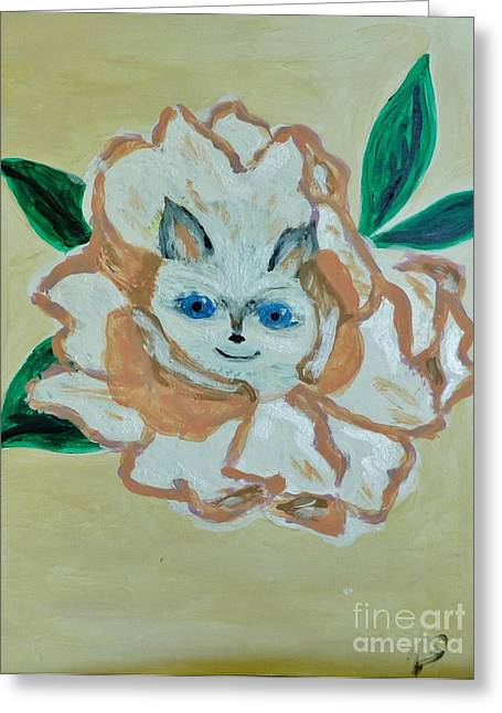 Kitty In The Magnolia Blossom Greeting Card by Marie Bulger