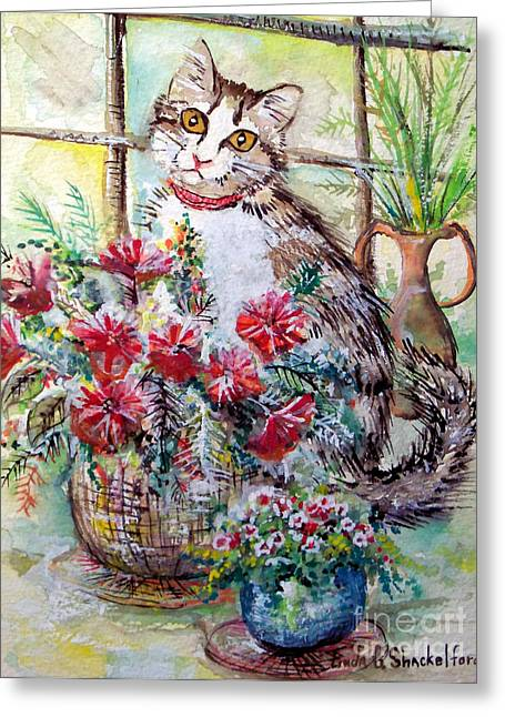 Greeting Card featuring the painting Kitty In The Window by Linda Shackelford