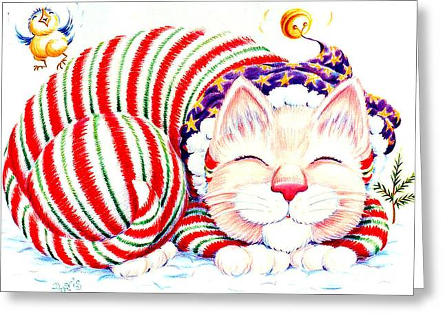 Kitty Klaus Greeting Card by Dee Davis