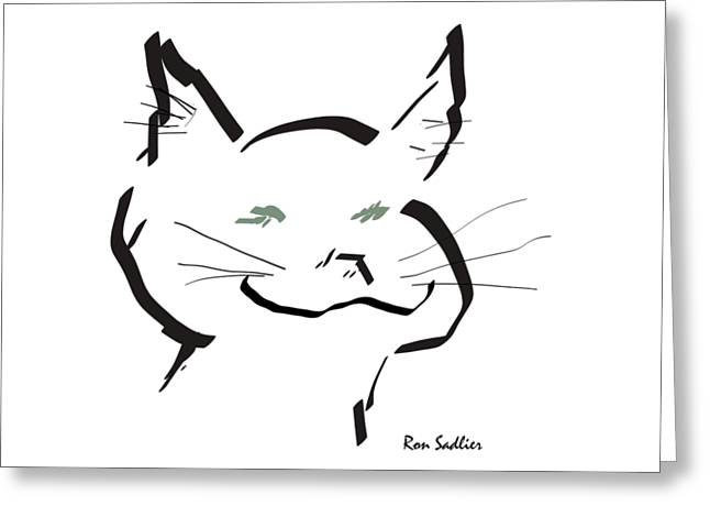 Greeting Card featuring the drawing Kitty by Ron Sadlier