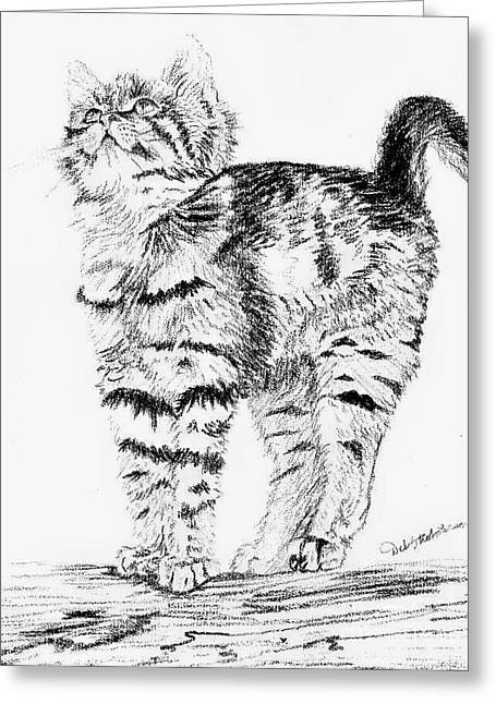 Kitty Stretch Greeting Card by Deb Stroh Larson