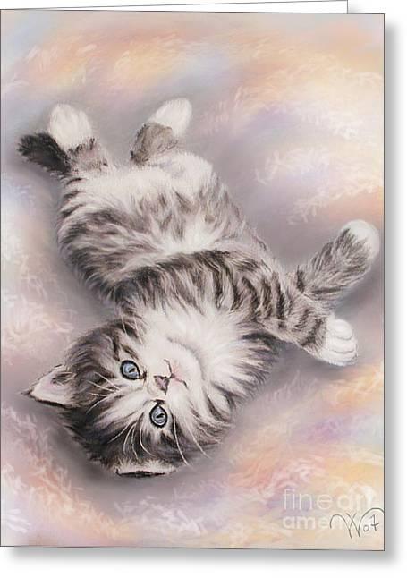 Kitty Greeting Card by Valentina Vassilieva