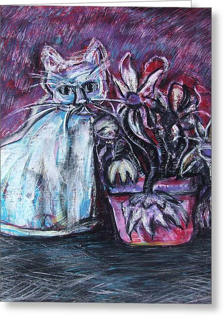 Kitty With Flowers Greeting Card