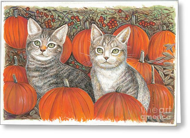 Kittys And Pumpkins Greeting Card by Samuel Showman