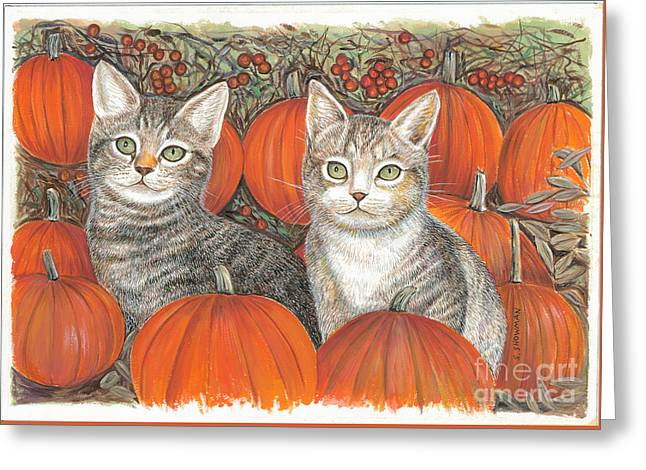 Kittys And Pumpkins Greeting Card