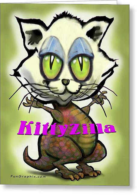 Kittyzilla Greeting Card by Kevin Middleton