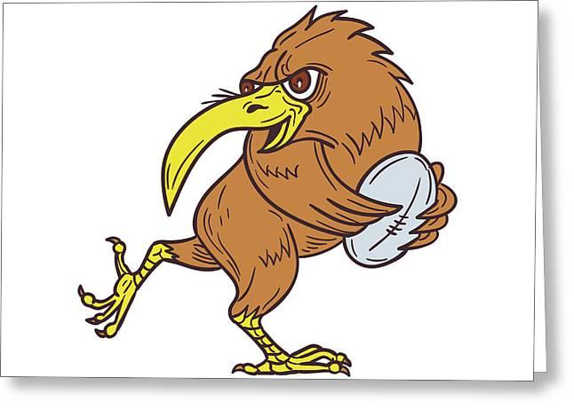 Kiwi Bird Running Rugby Ball Drawing Greeting Card by Aloysius Patrimonio