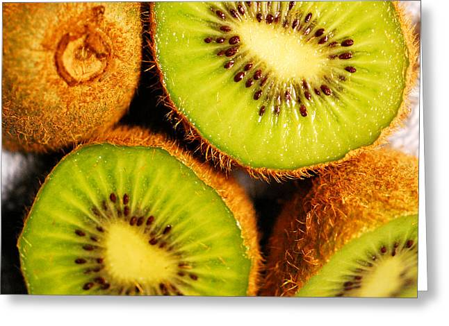 Edible Digital Art Greeting Cards - Kiwi Fruit Greeting Card by Nancy Mueller