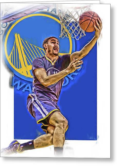 Klay Thompson Golden State Warriors Oil Art Greeting Card by Joe Hamilton