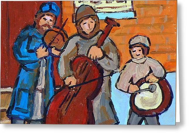 Klezmer Band Three Musicians Street Performance Montreal Street Scene Jewish Art Carole Spandau      Greeting Card by Carole Spandau