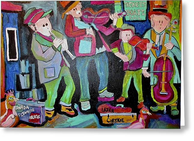 Klezmer Playing For Tickets Greeting Card by Michael Litvack